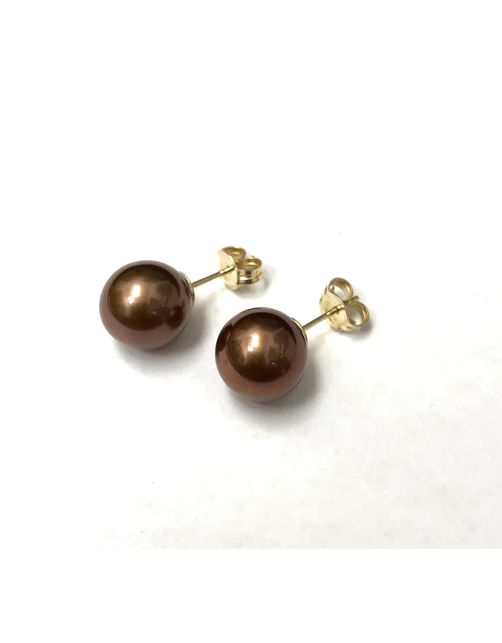 Copper FW Pearl Stud Earrings 14KY