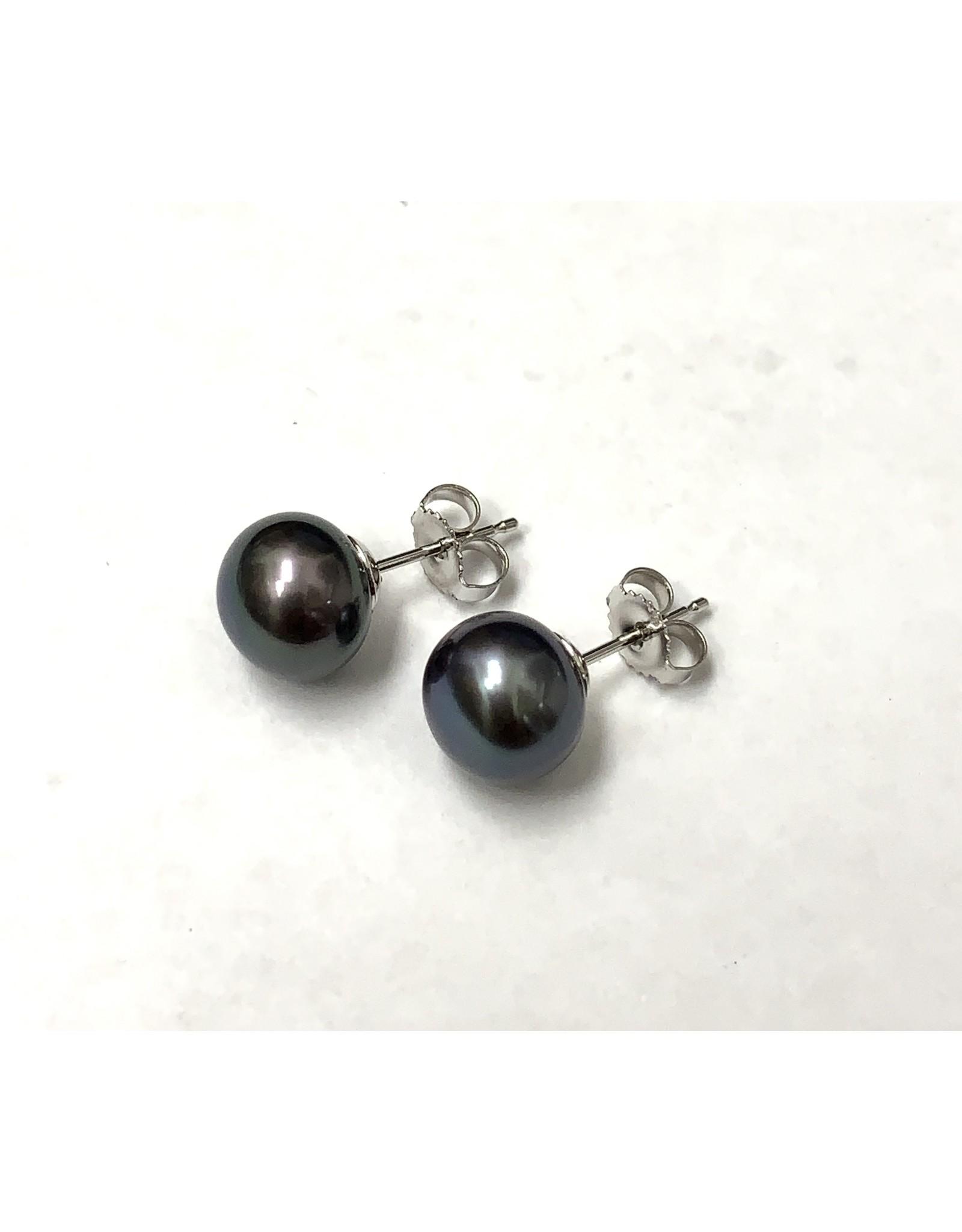 Black FW Pearl Stud Earrings 14KW