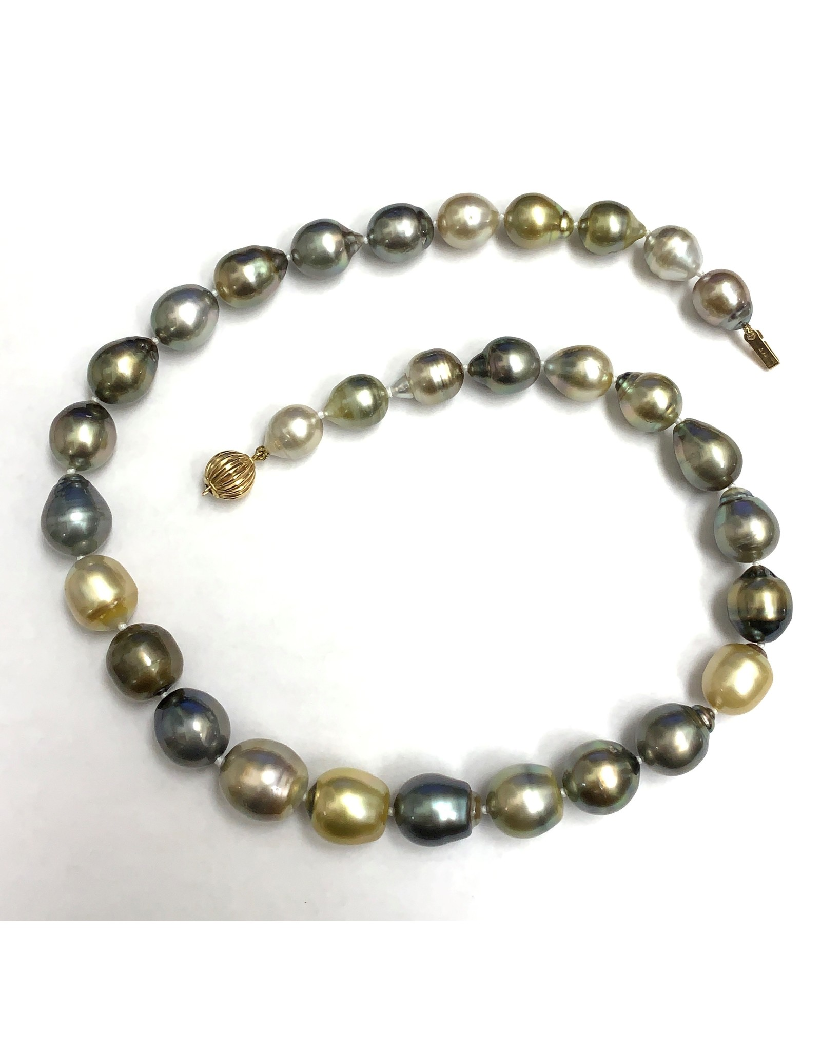 Fiji & Tahitian (9.3-12.7mm) Pearl Necklace 14KY