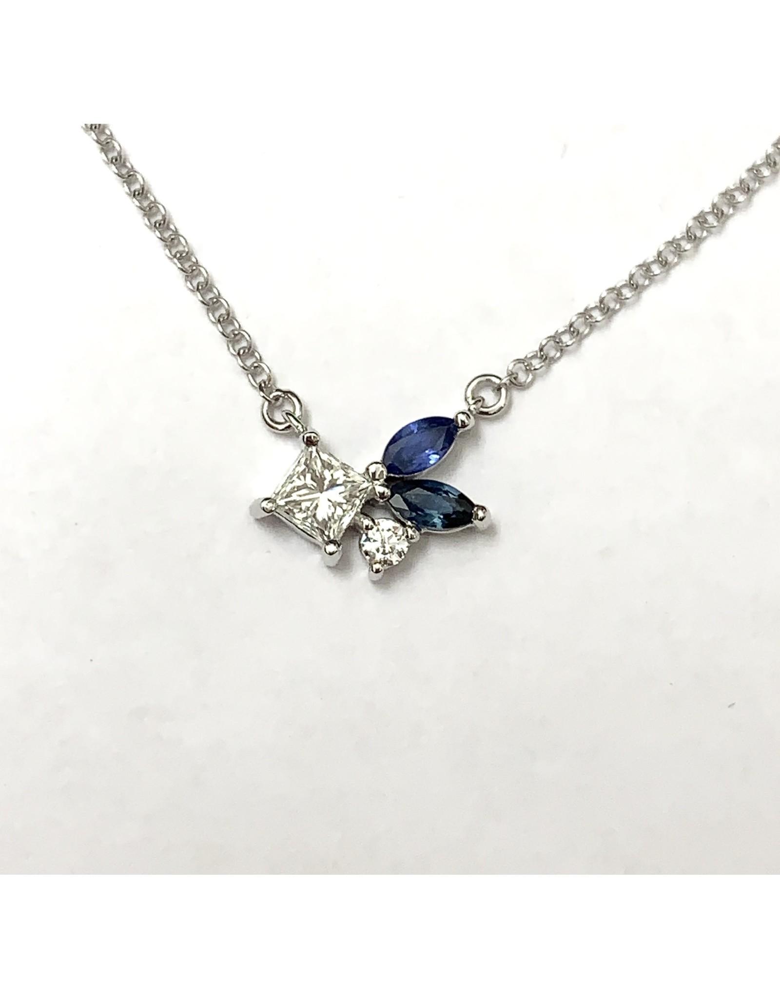 Wild Cluster Sapphire & Diamond Necklace 14KW