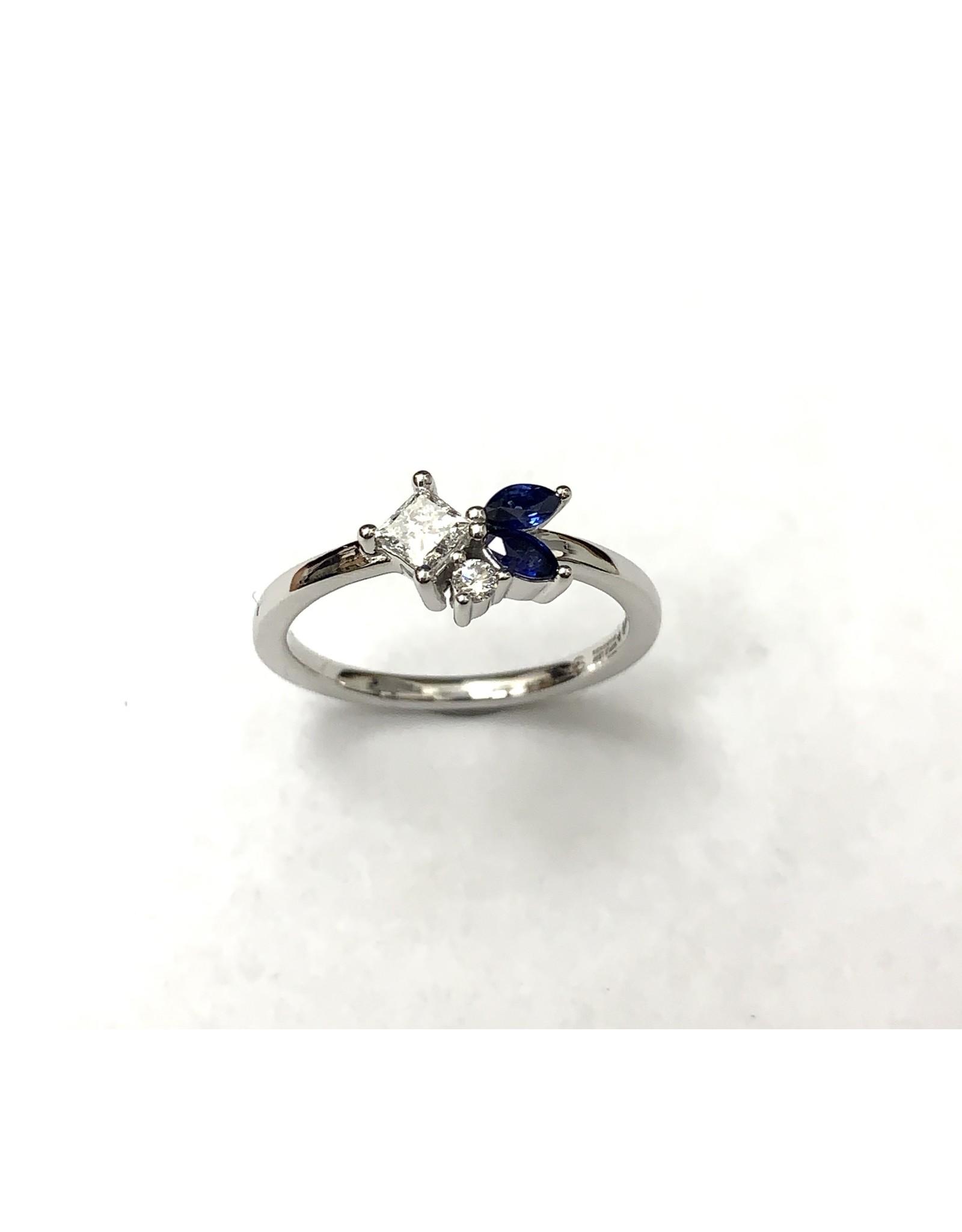 Wild Cluster Sapphire & Diamond Ring 14KW