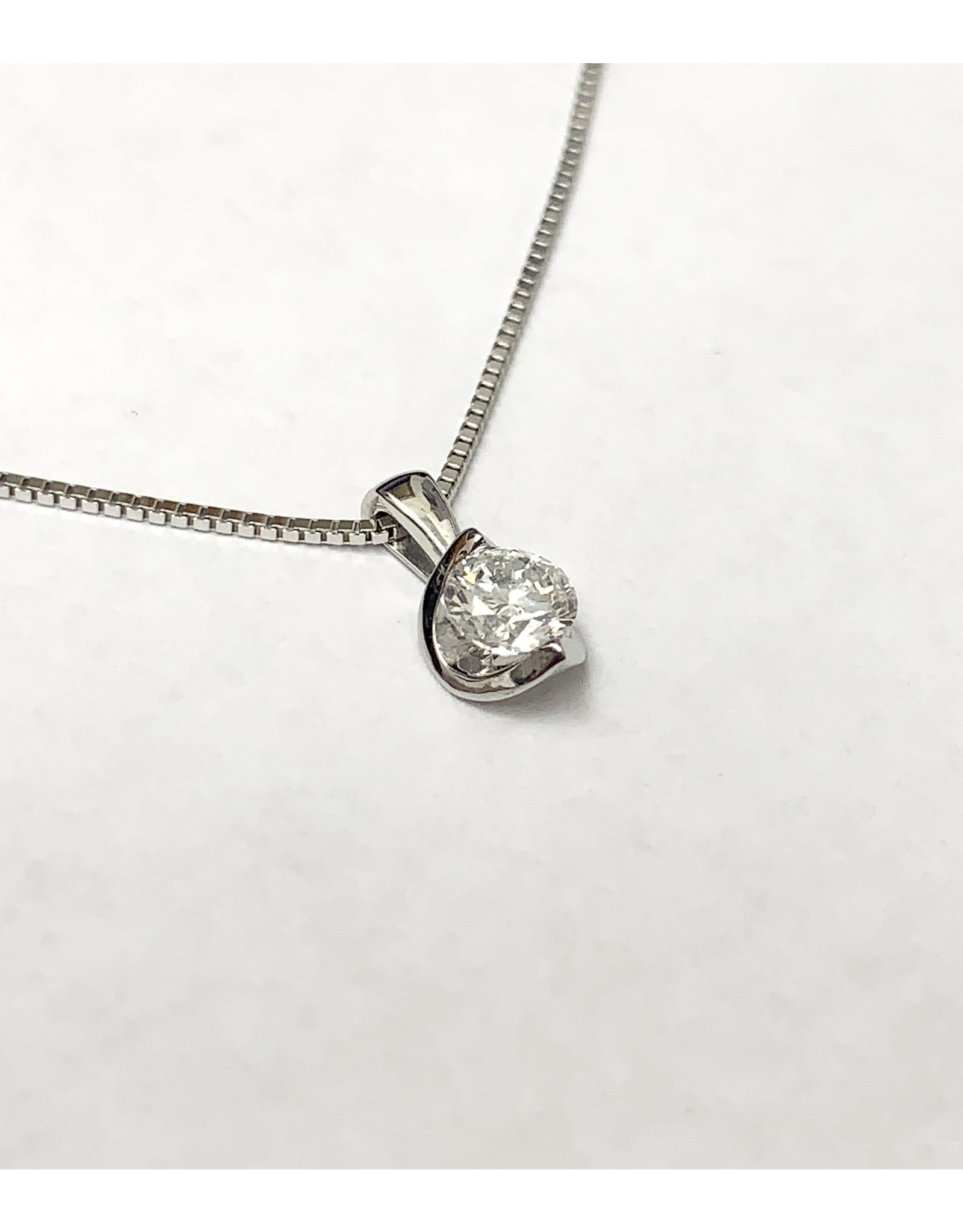 Pointed Channel Solitaire Diamond Pendant 14KW