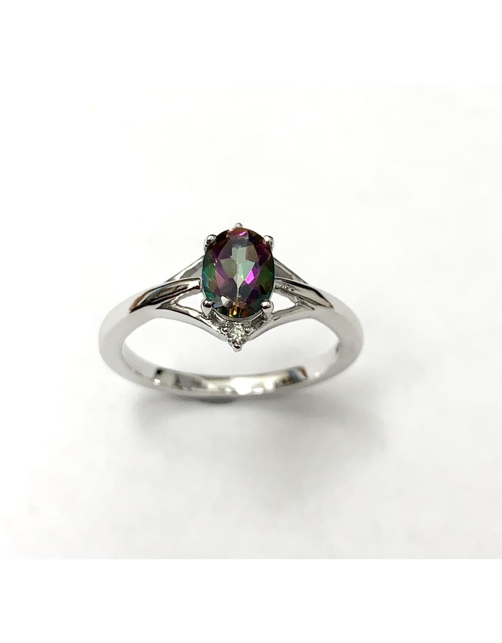 Mystic Topaz & Diamond Ring 10KW