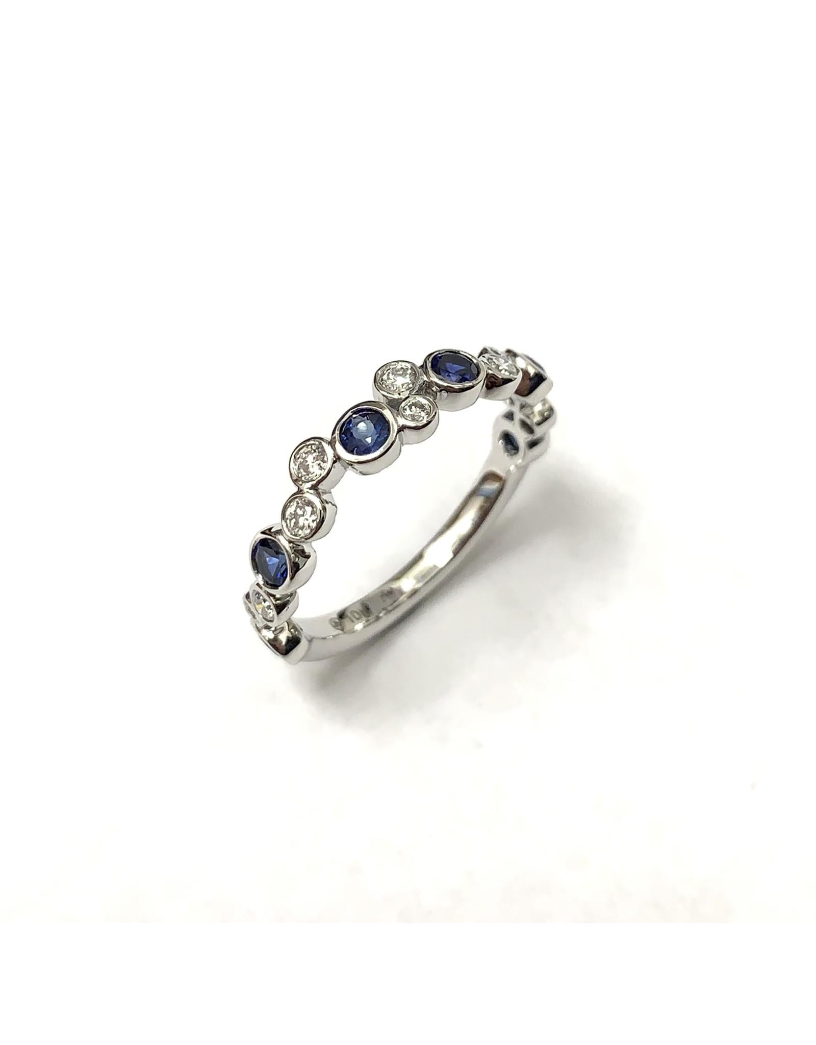 Sapphire & Diamond Bubble Ring 10KW