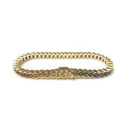 10.78ctw Rainbow Sapphire Bracelet