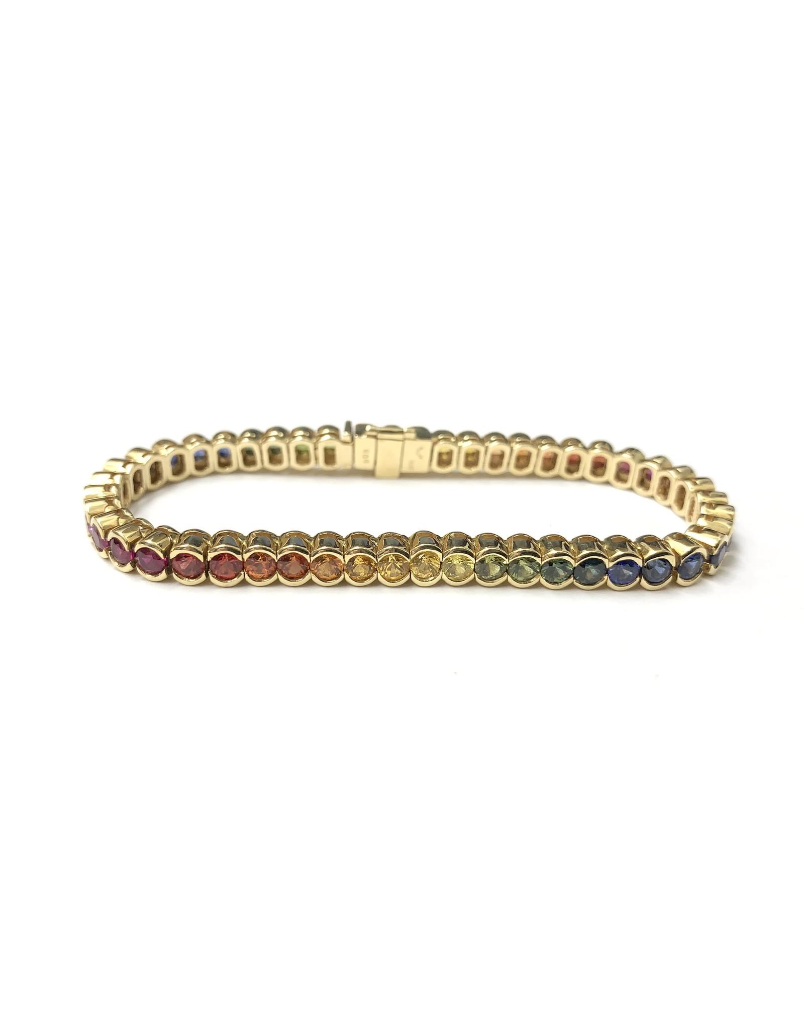 10.78ctw Rainbow Sapphire Bracelet 18KY