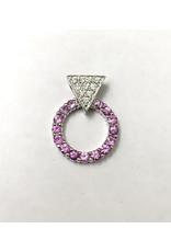 Pink Sapphire & Diamond Pendant 14KW