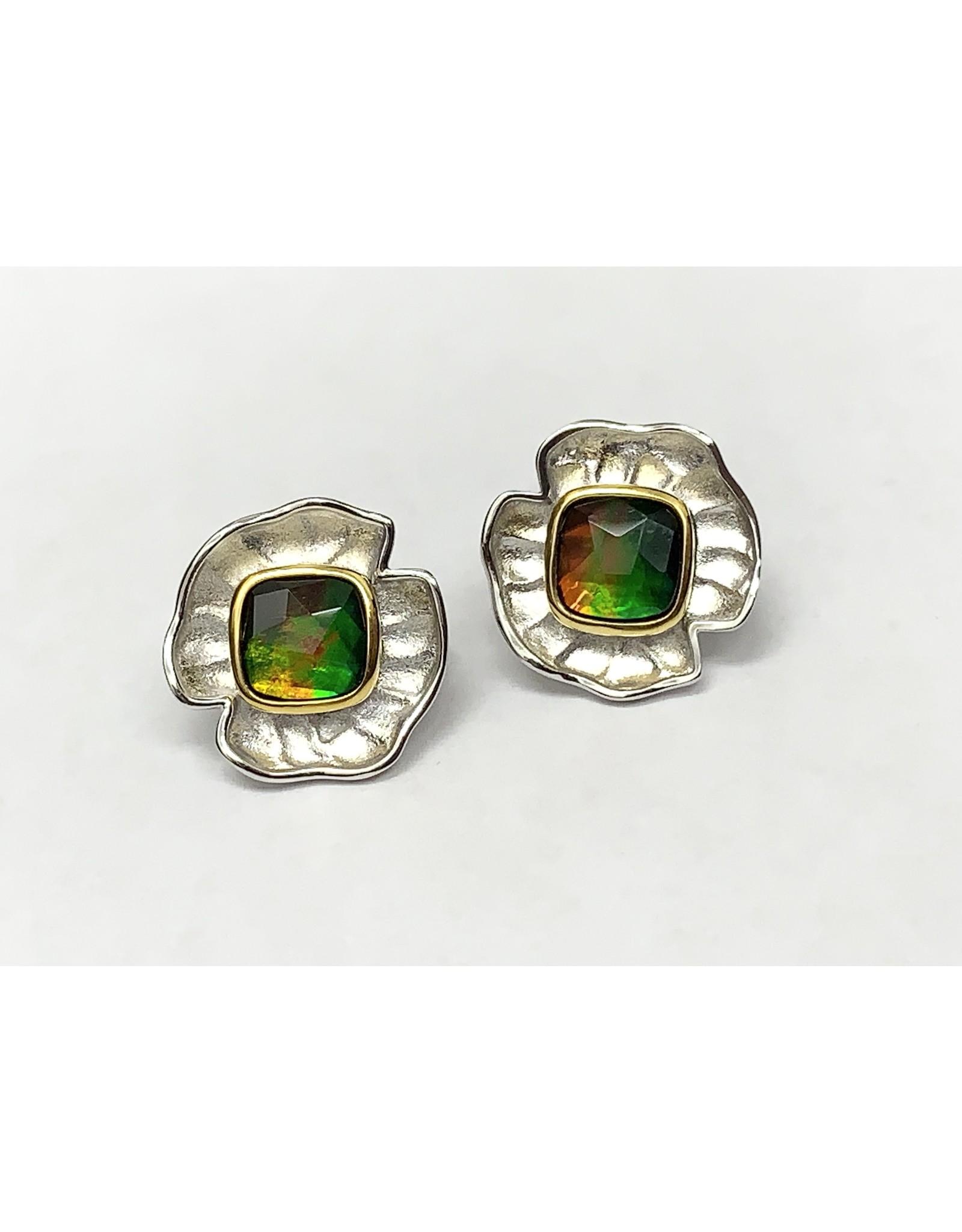 Korite Taylor Ammolite Earrings SS/YGP