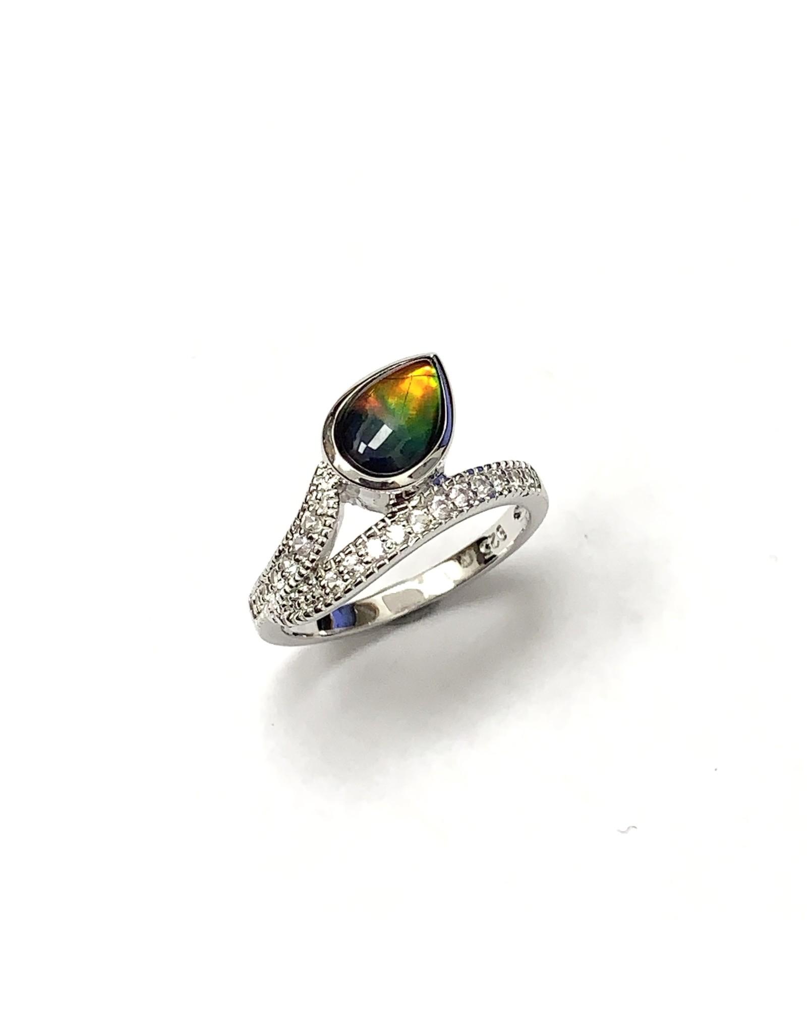 Korite Raven Ammolite Ring SS