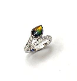 Korite Raven Ammolite Ring