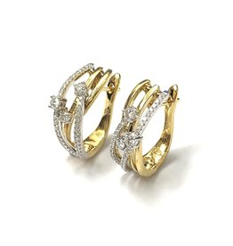 Diamond Crossover Earrings