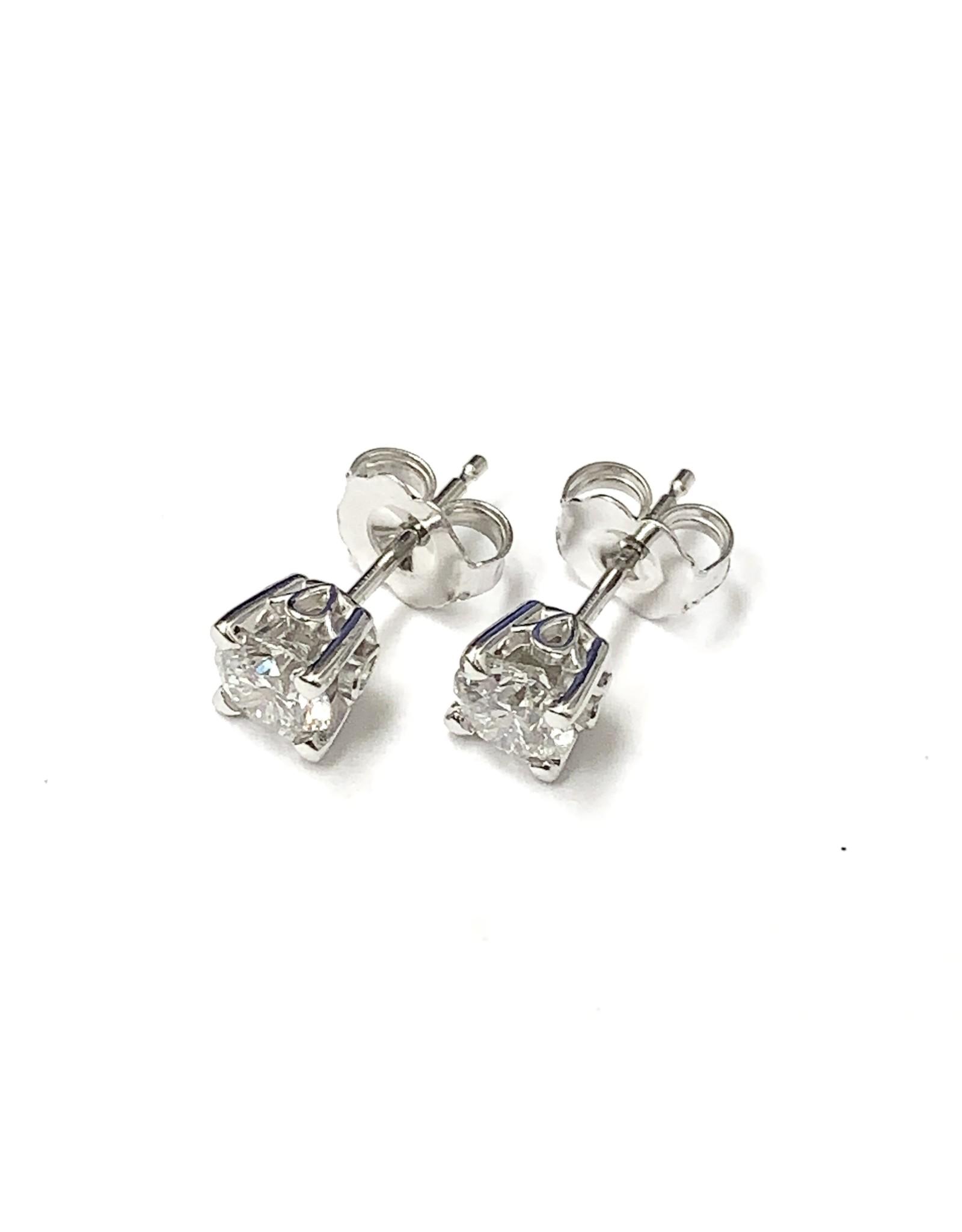 0.80ctw Canadian Diamond Stud Earrings 14KW