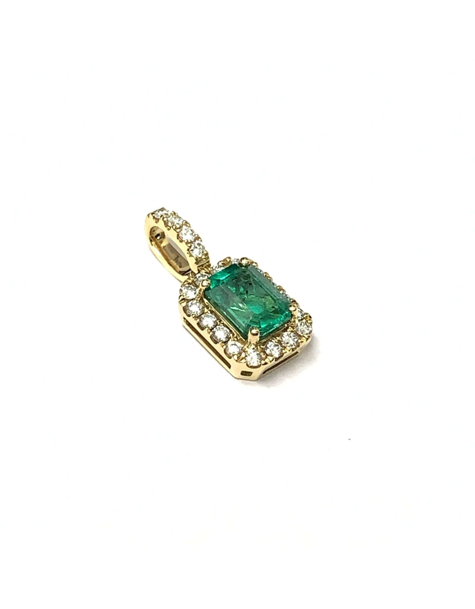0.88ct Emerald & Diamond Pendant 18KY