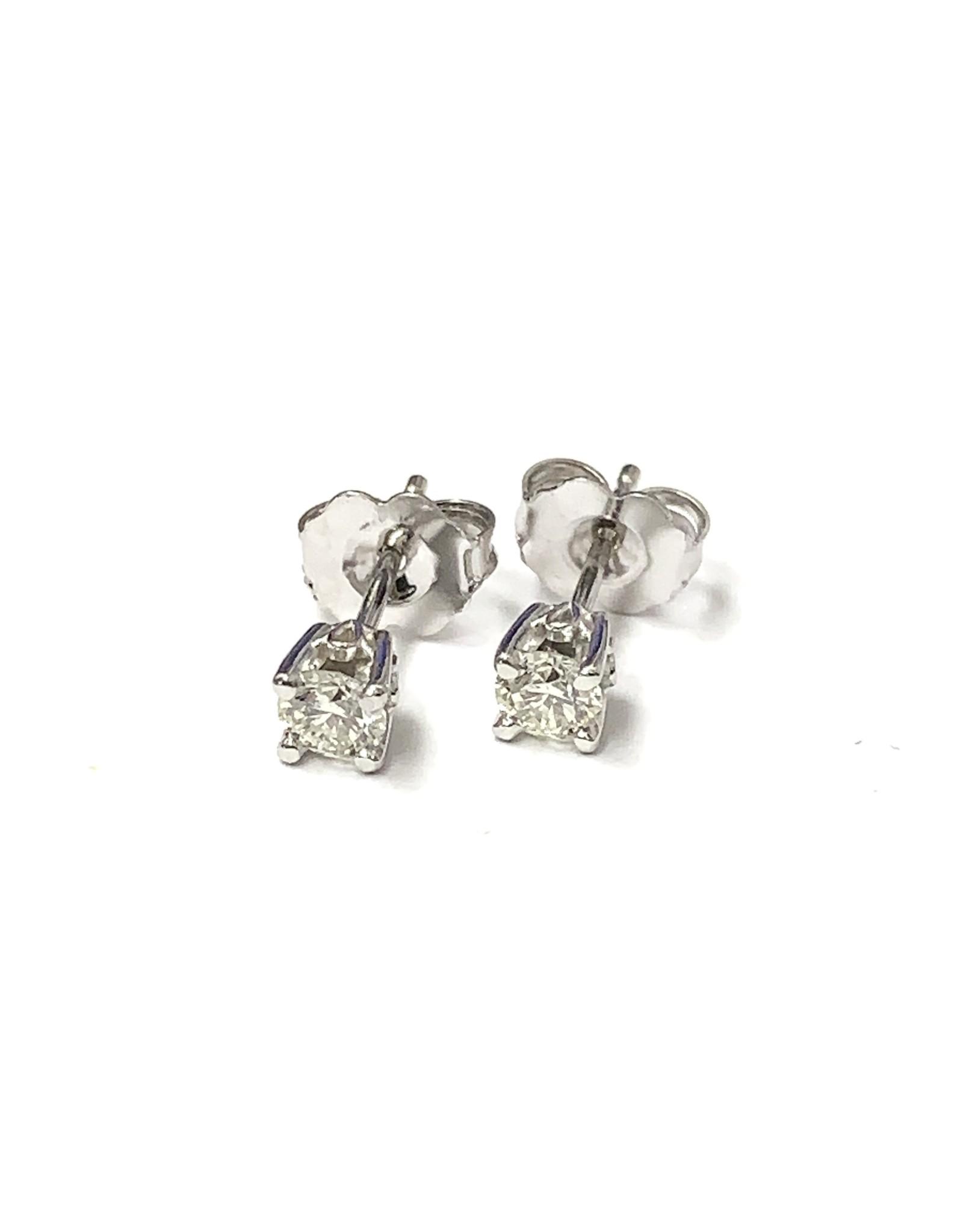 0.32ctw Diamond Stud Earrings 14KW