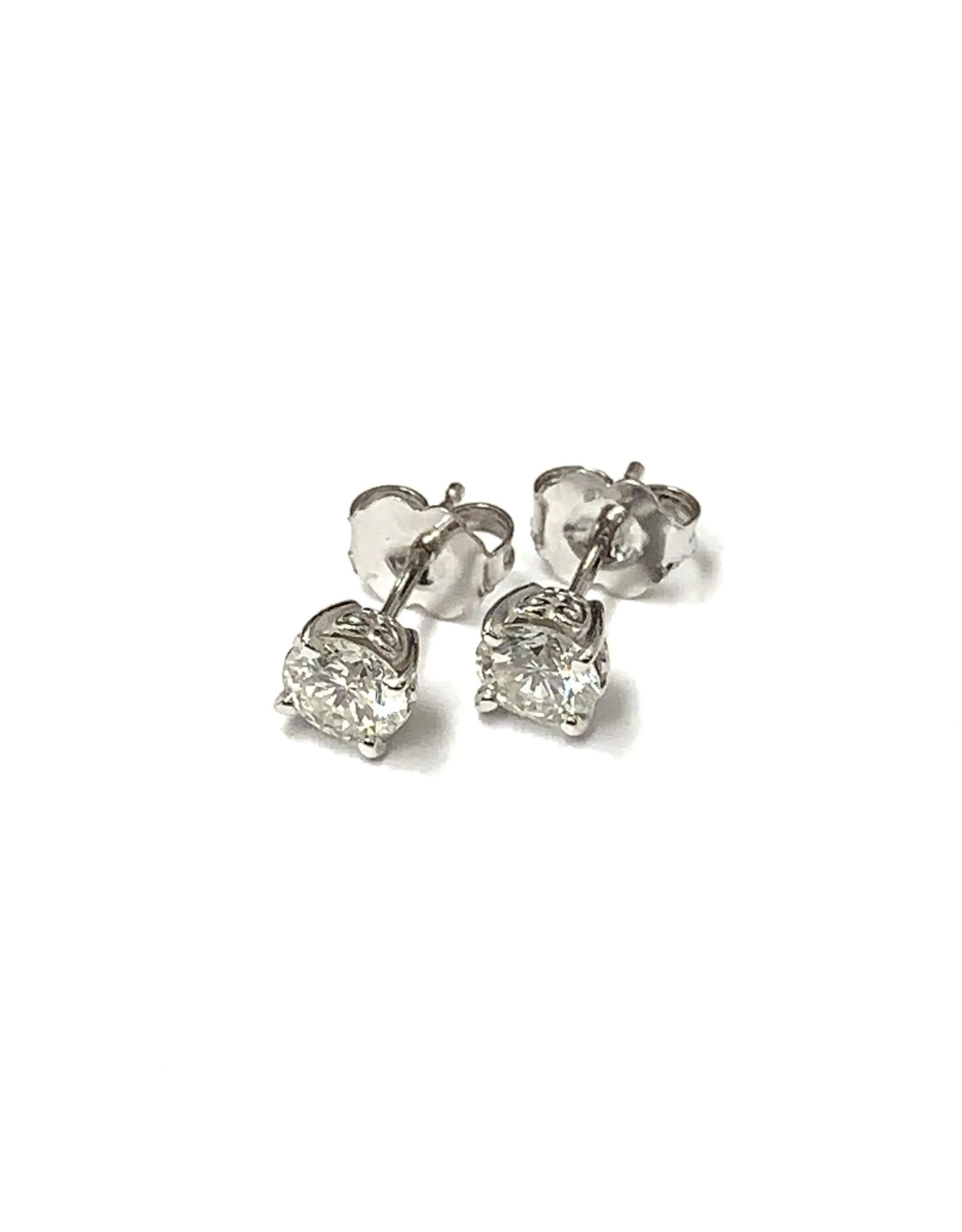 0.84ctw Diamond Stud Earrings 14KW