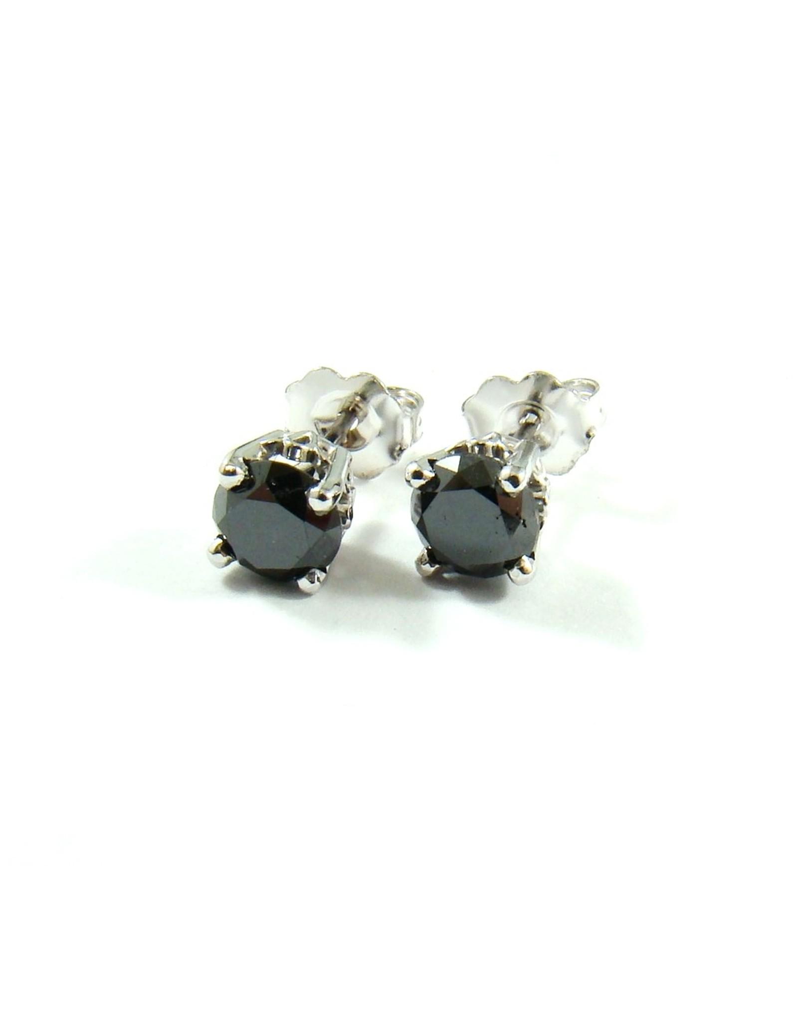1.44ctw Black Diamond Stud Earrings 14KW