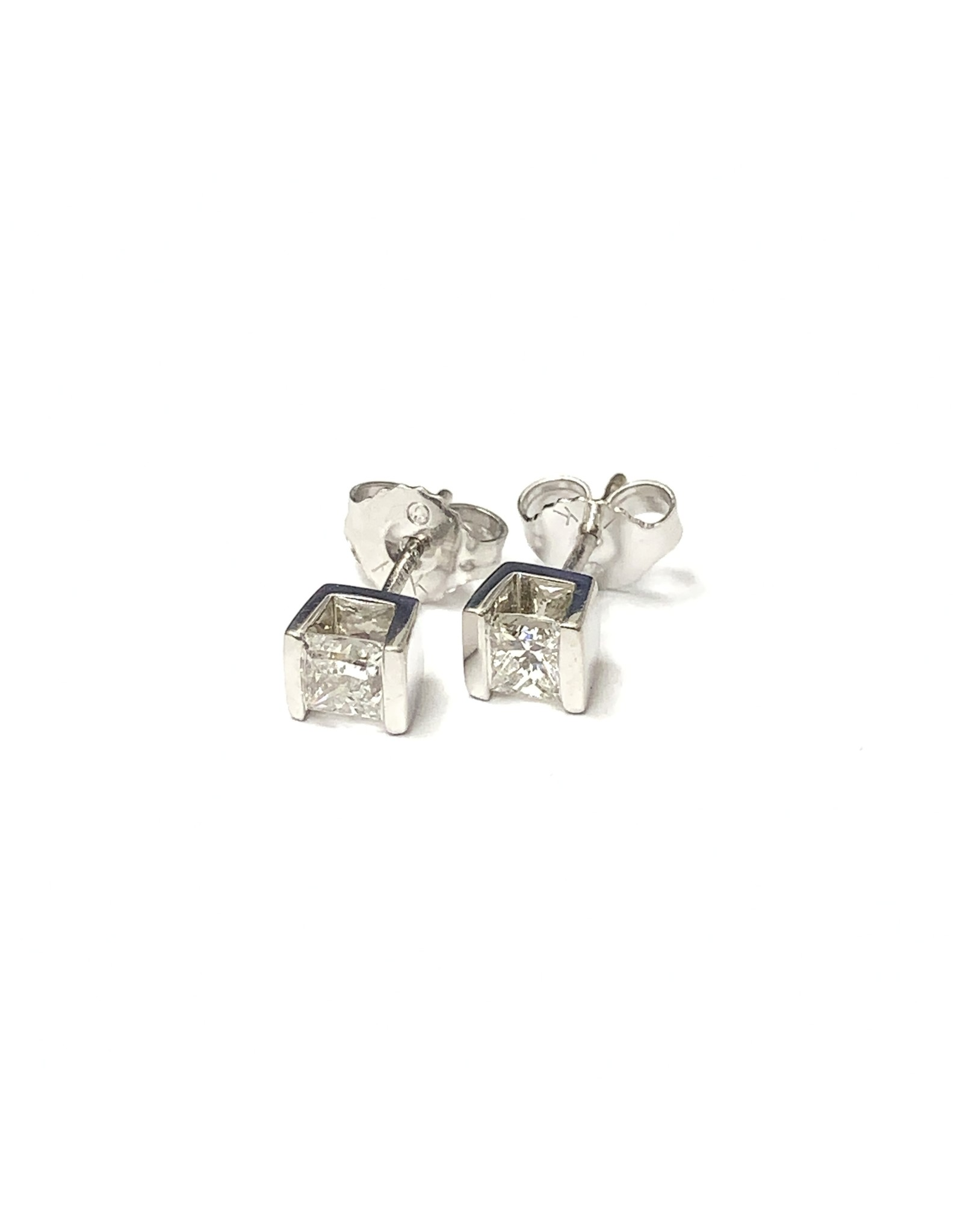 0.50ctw Princess Diamond Stud Earrings 14KW