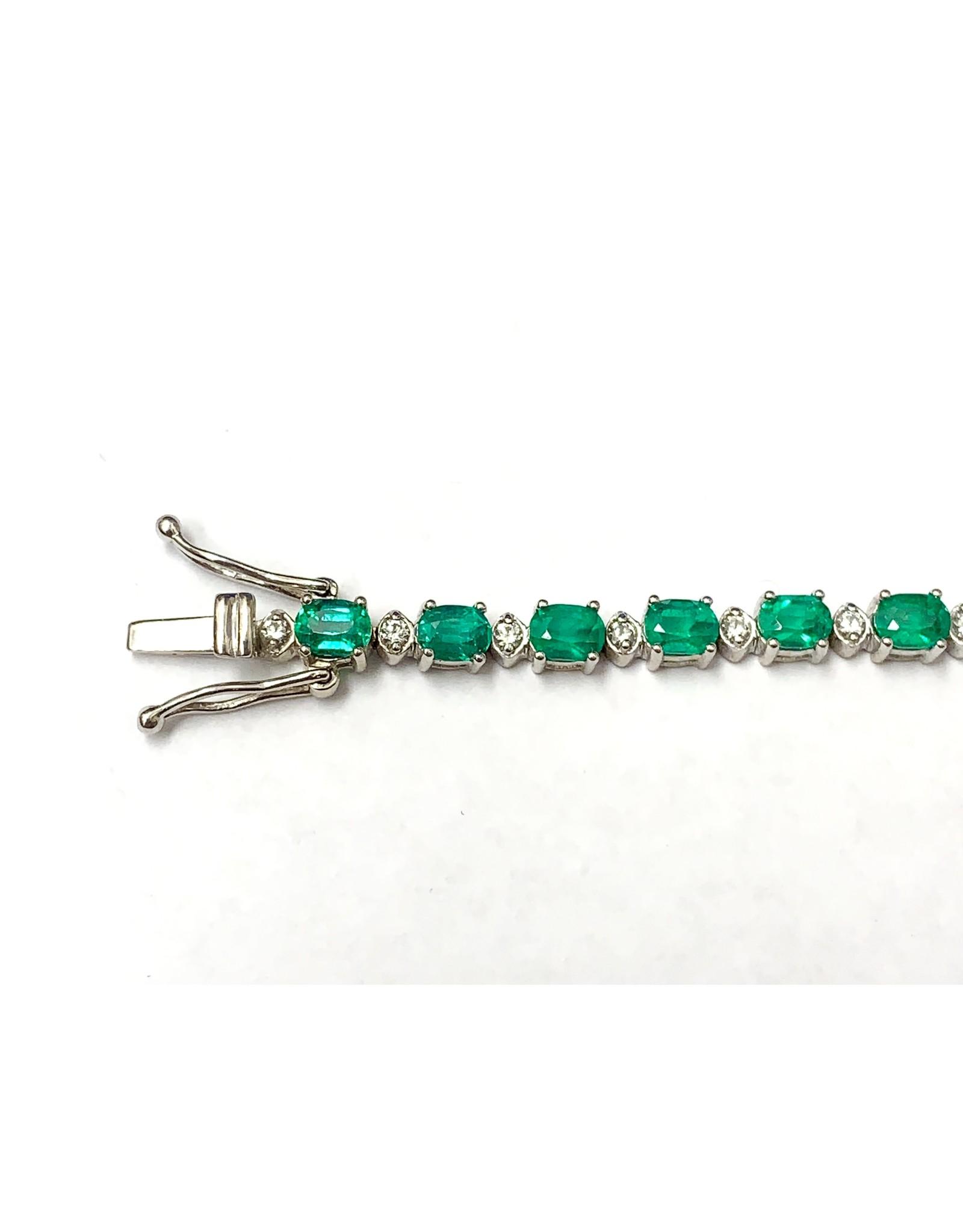 Emerald & Diamond Bracelet 18KW