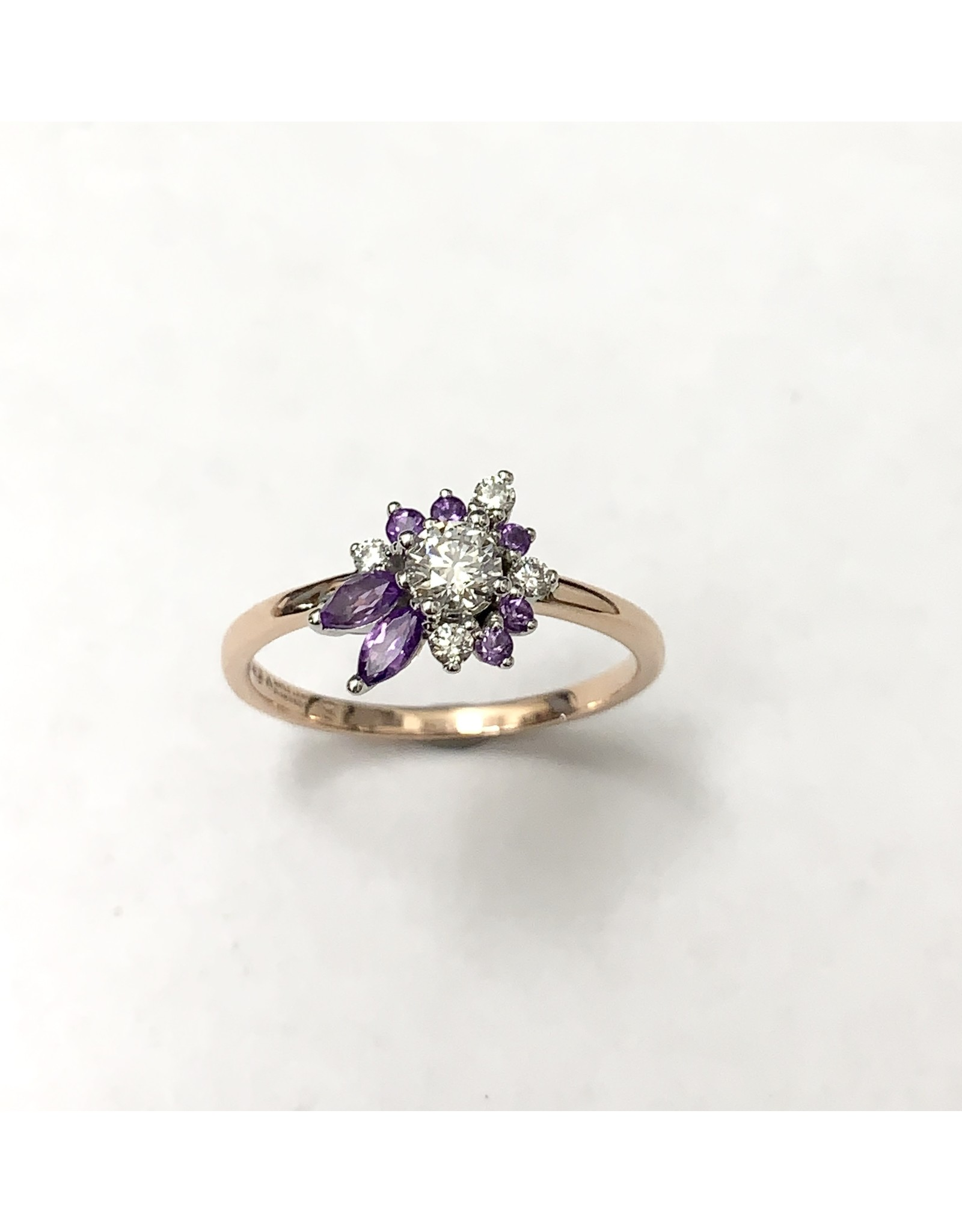 Wildflower Diamond & Amethyst Cluster Ring 14KWRW