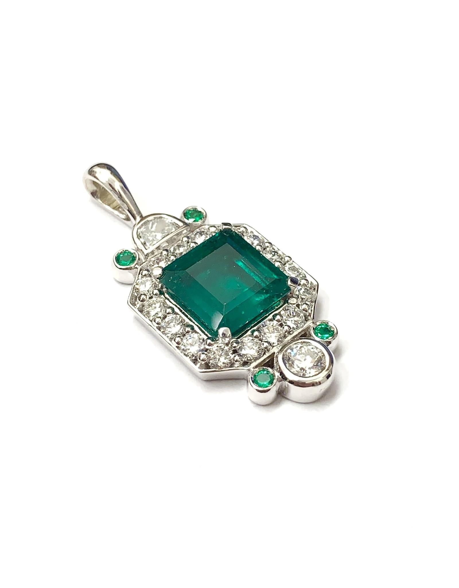 Custom Emerald and Diamond Pendant 14KW