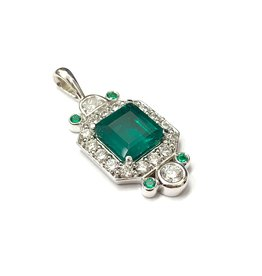 Custom Emerald and Diamond Pendant