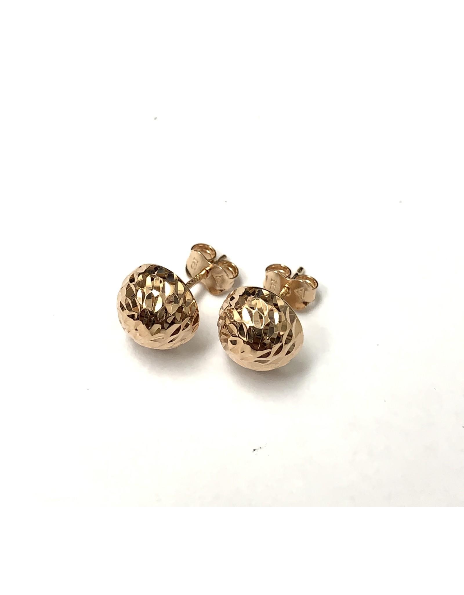9mm Half-Ball Stud Earrings 14KR