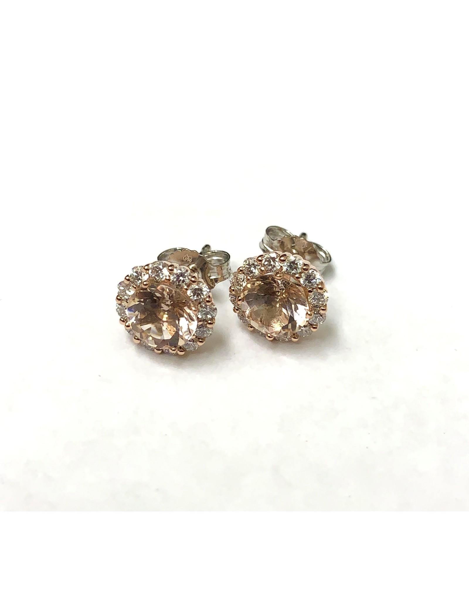 Morganite & Diamond Earrings 14KWR