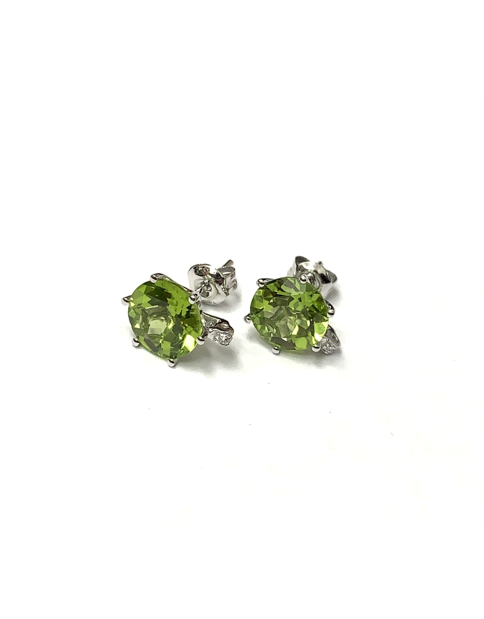 Peridot & Diamond Earrings 14KW