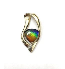 Korite Freeform Ammolite & Diamond Slider Pendant