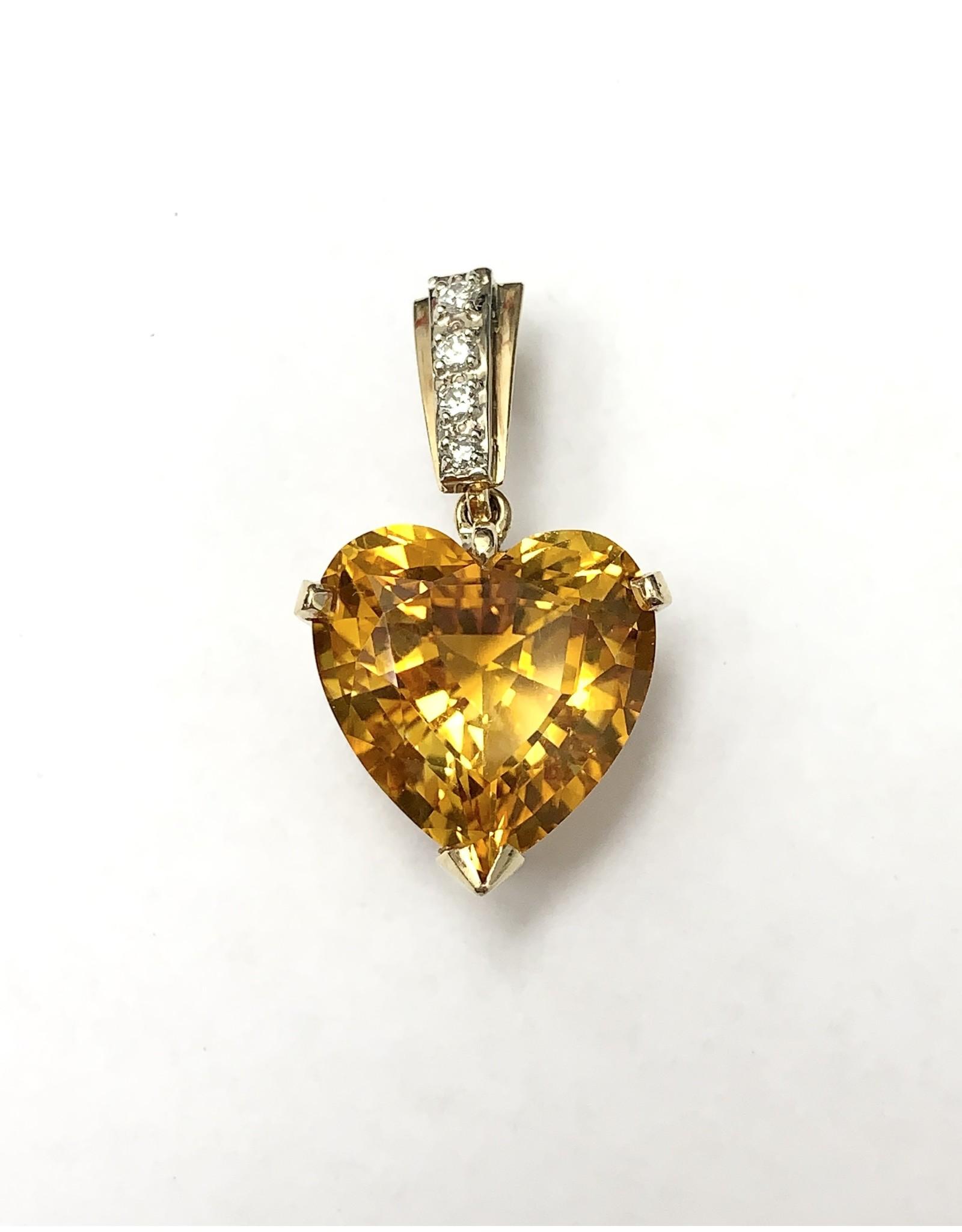 Citrine & Diamond Pendant 14KYW