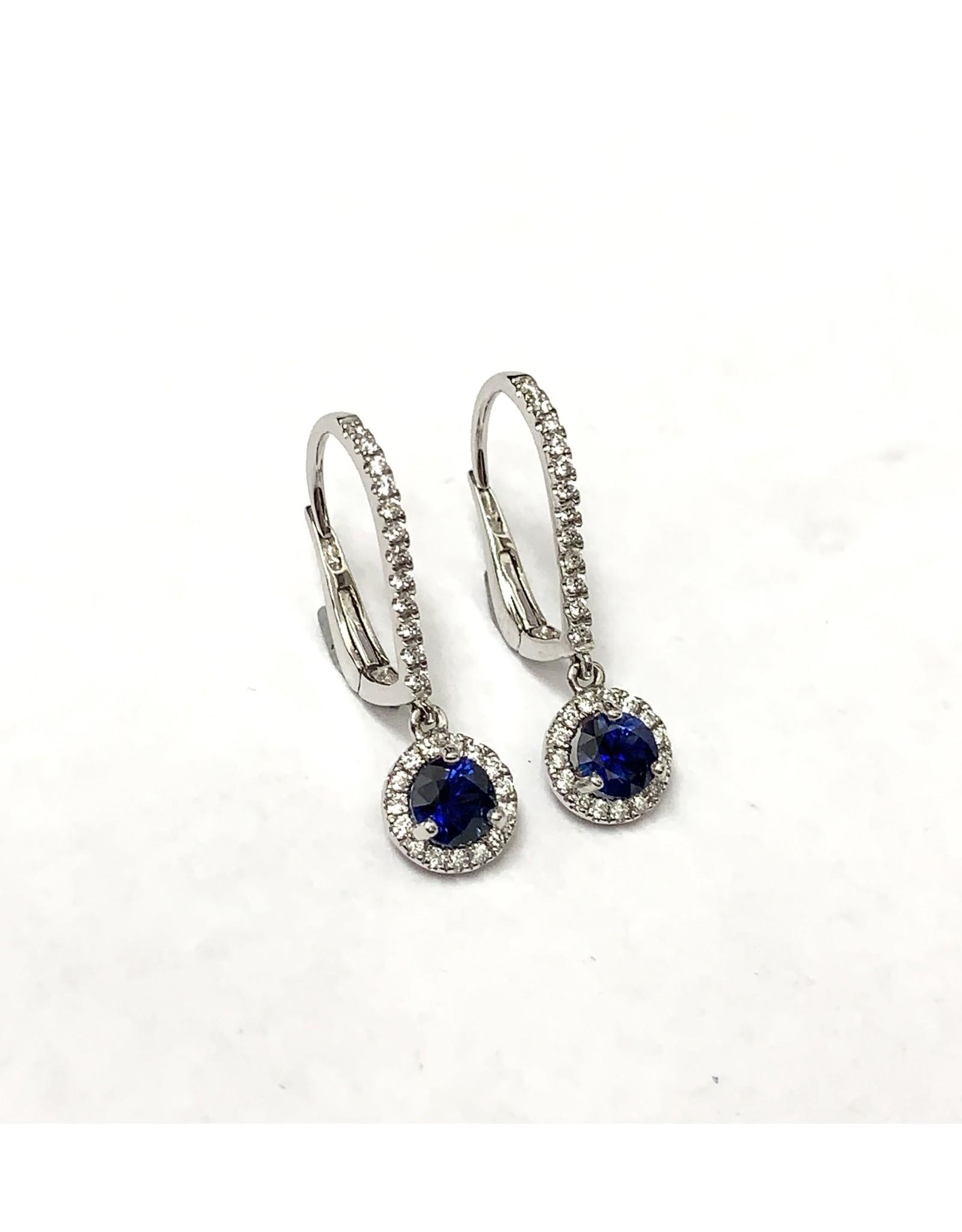 Drop Sapphire & Diamond Earrings 18KW