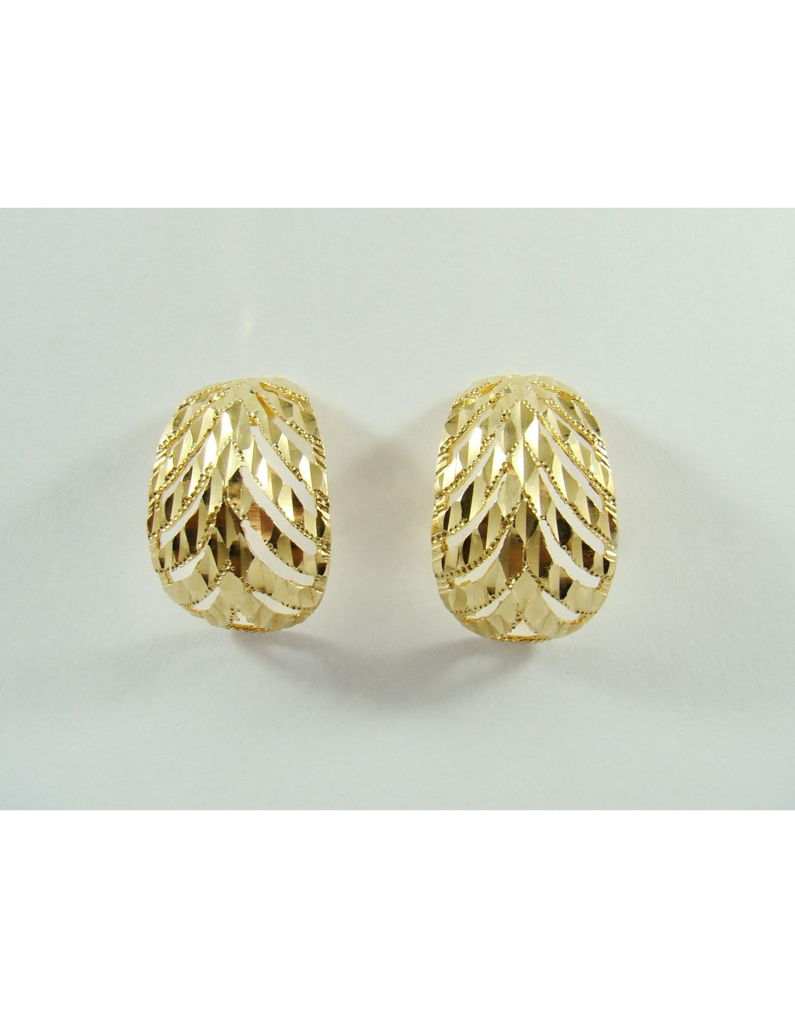 Fancy Leaf Earrings 14KY