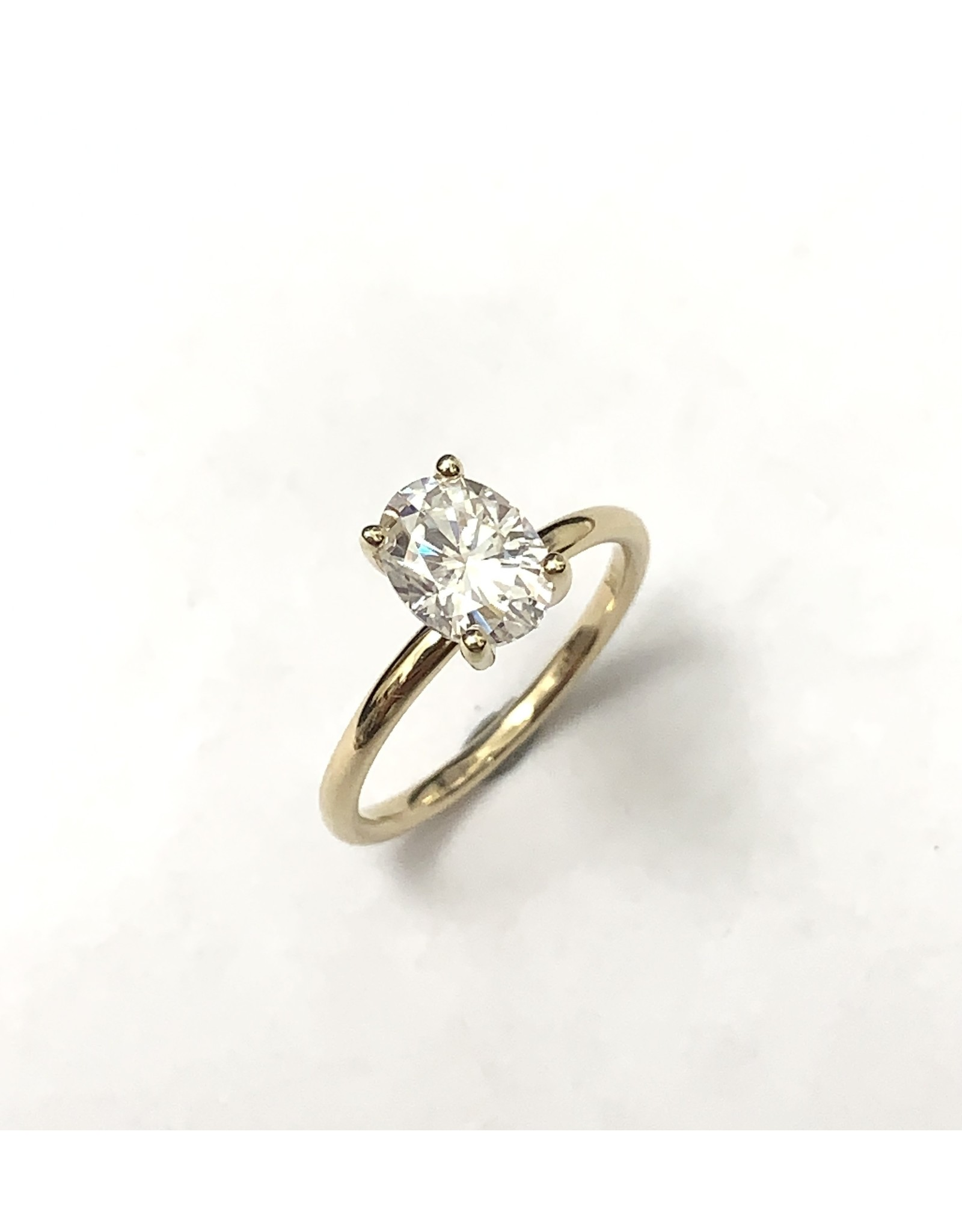 Oval Moissanite Solitaire Ring 14KY