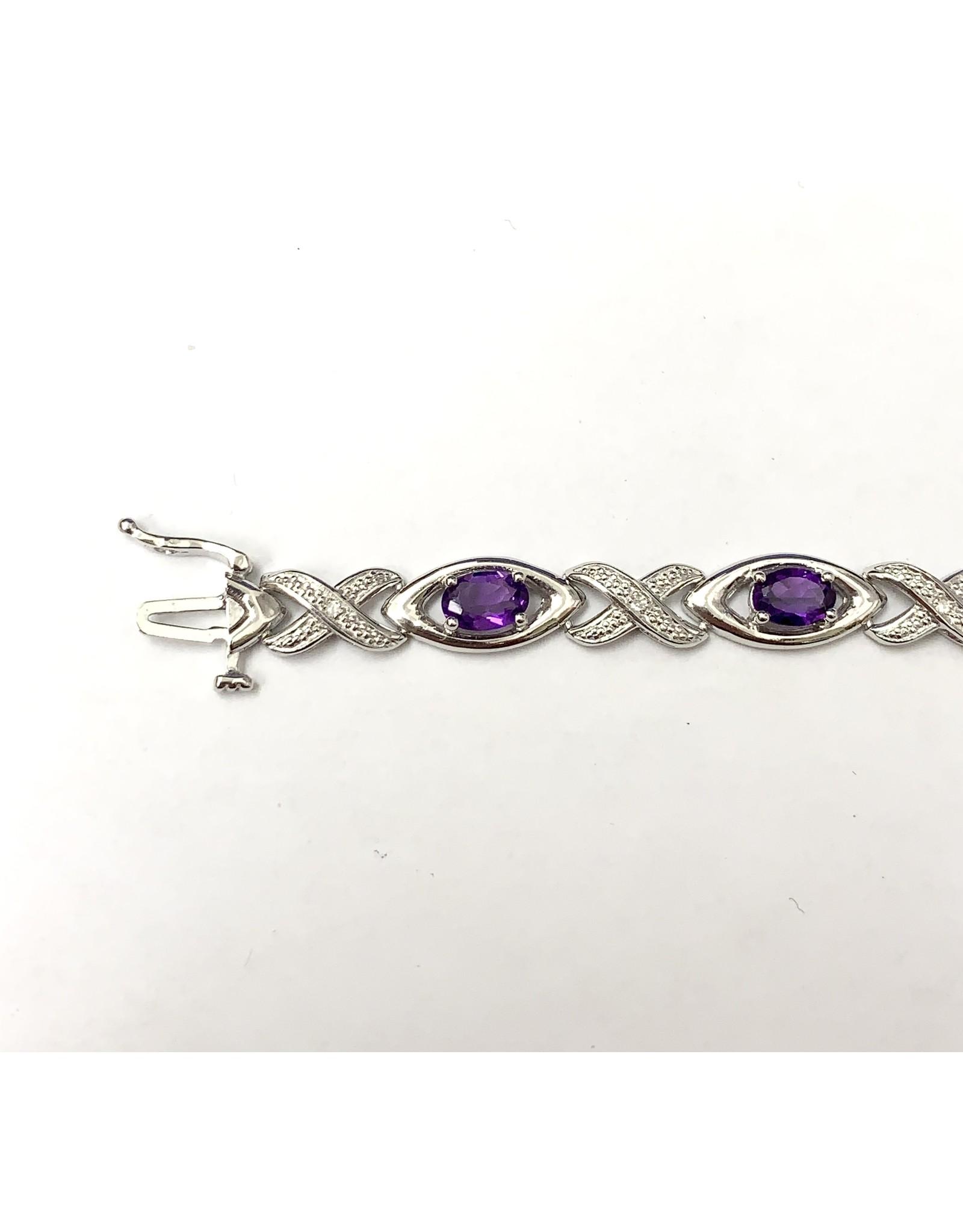 Amethyst & Diamond Bracelet SS