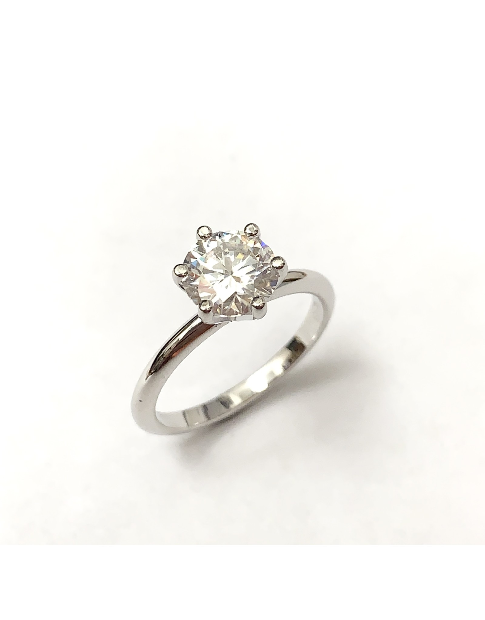 7mm Moissanite Solitaire Ring 14KW