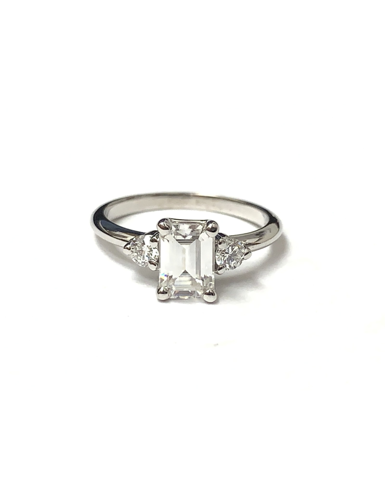 7x5mm Emerald Cut Moissanite & Lab Diamond Ring 14KW