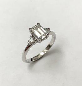 7x5mm Emerald Cut Moissanite & Lab Diamond Ring