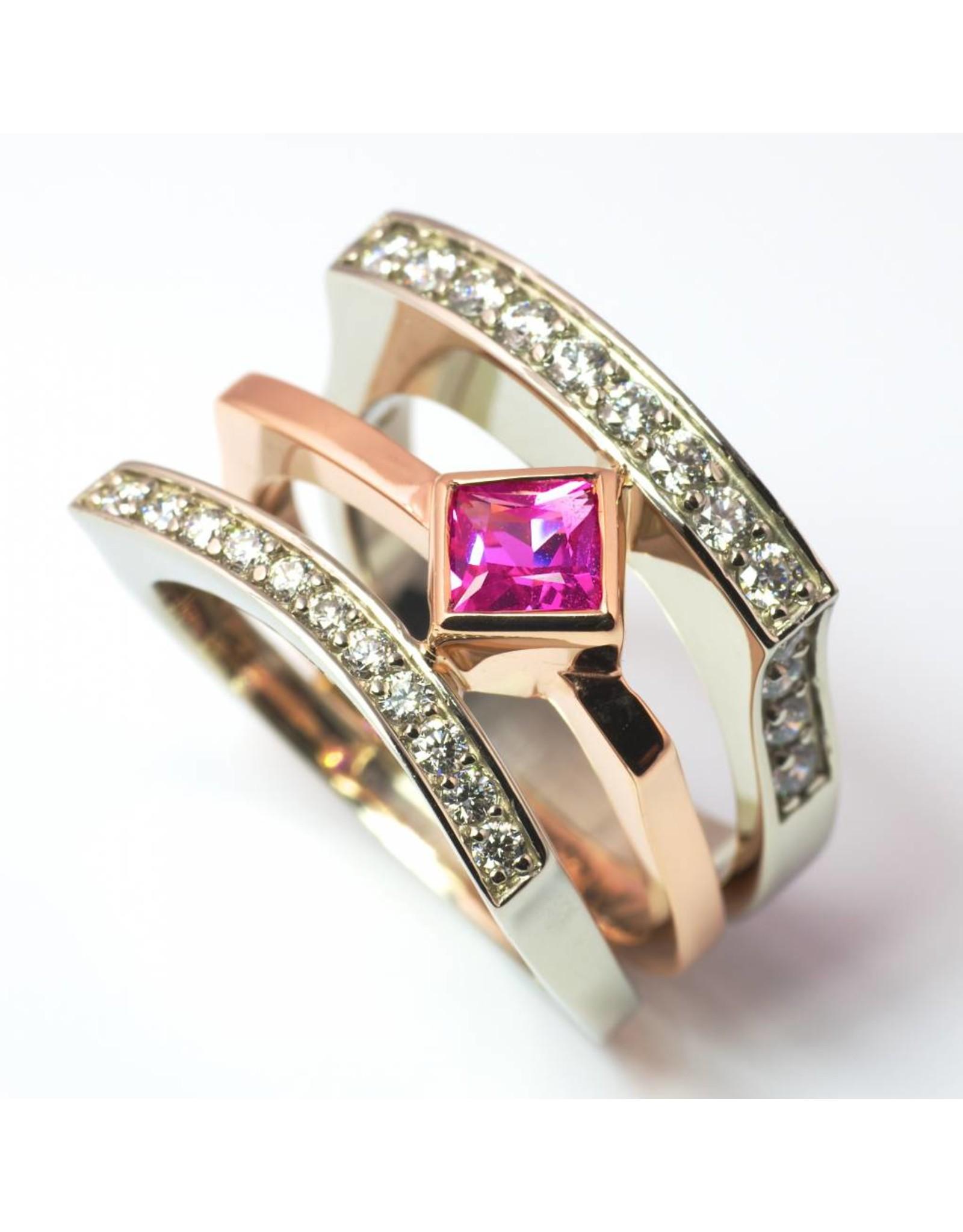 Pink Sapphire & Diamond Ring 14KWR Gold