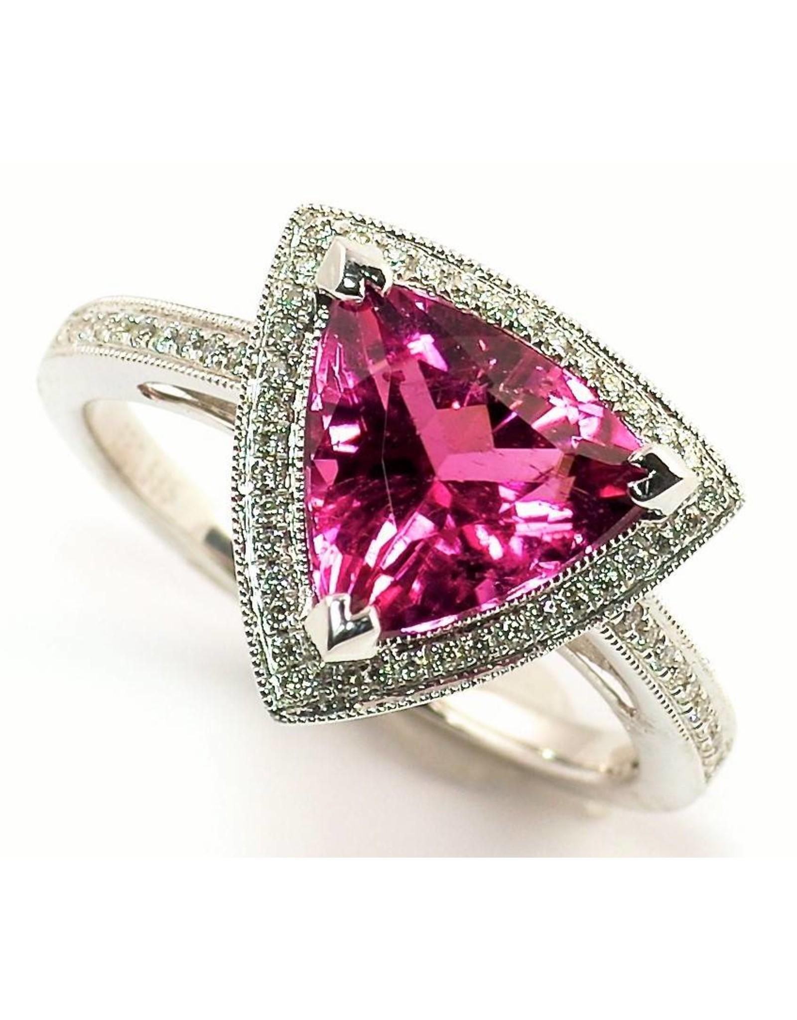 Rubellite Tourmaline & Diamond Ring  14KW