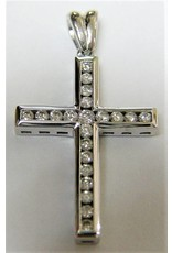 Channel Set Diamond Cross Pendant 10KW Gold