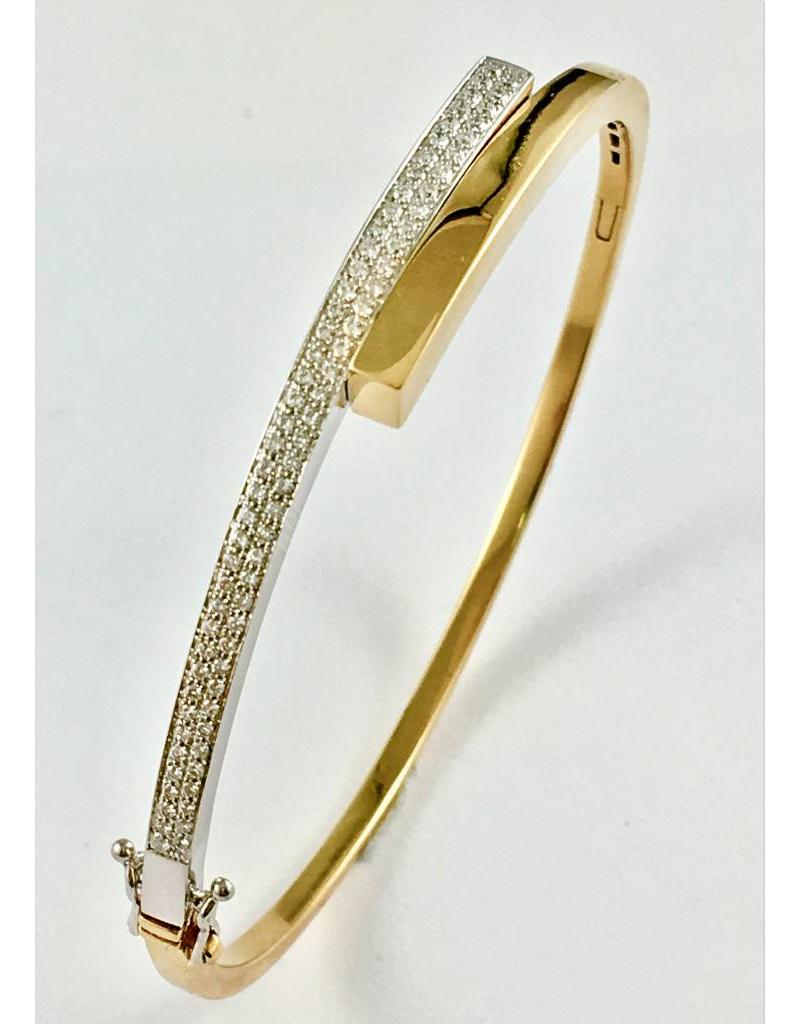 Diamond Hinged Gold Bangle