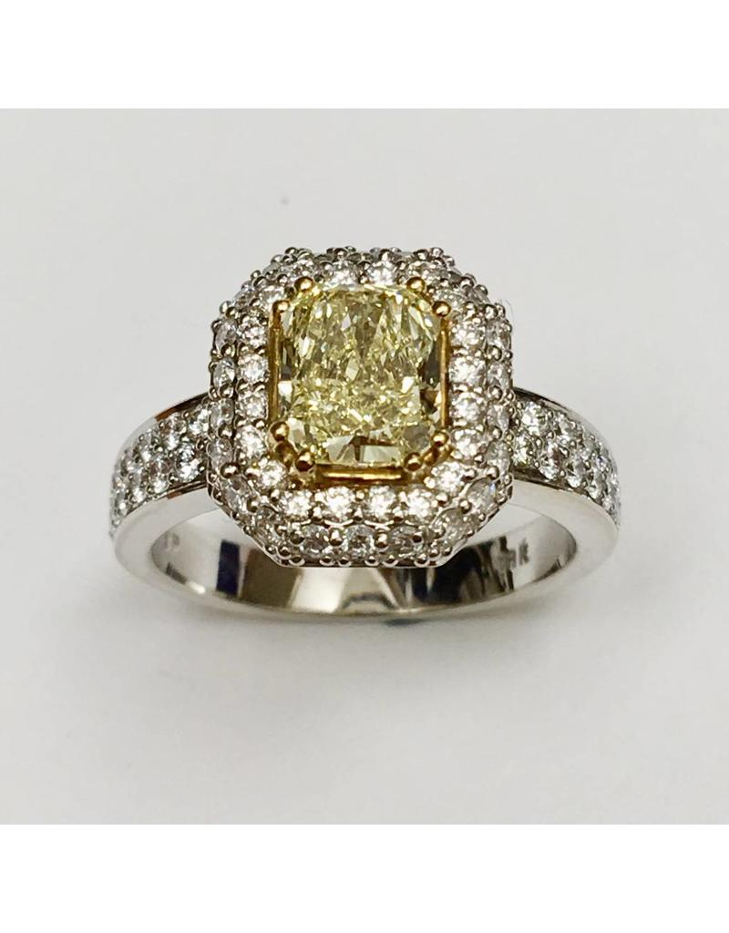 18KW Yellow Diamond Halo Ring (2.17ctw)
