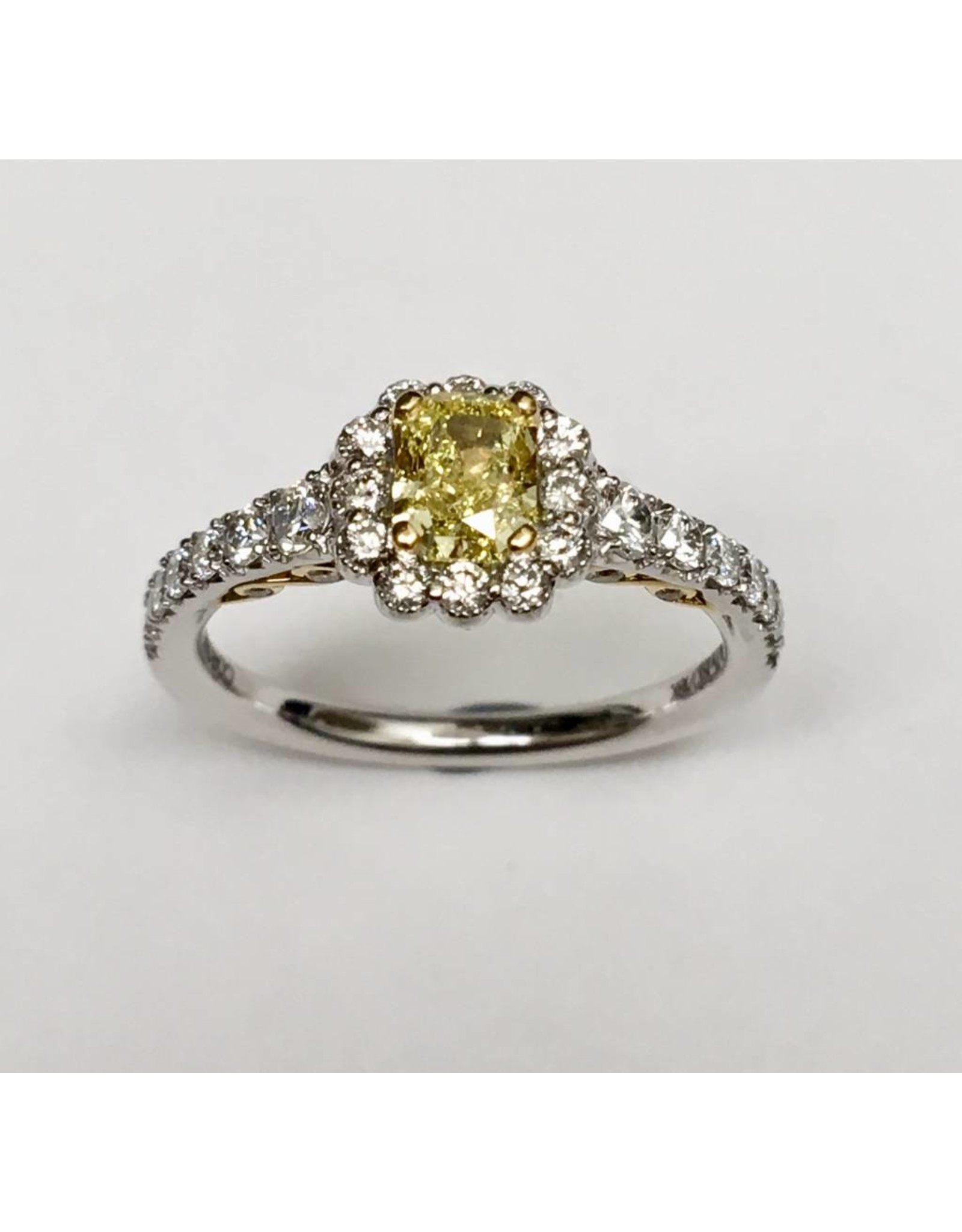 Fancy Yellow Canadian Diamond Halo (1.15ctw) 18KWY