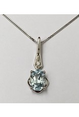 Aquamarine & Diamond Pendant 10KW