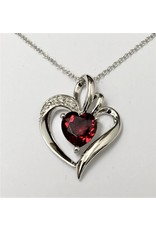 Garnet & Diamond Heart Pendant  10KW