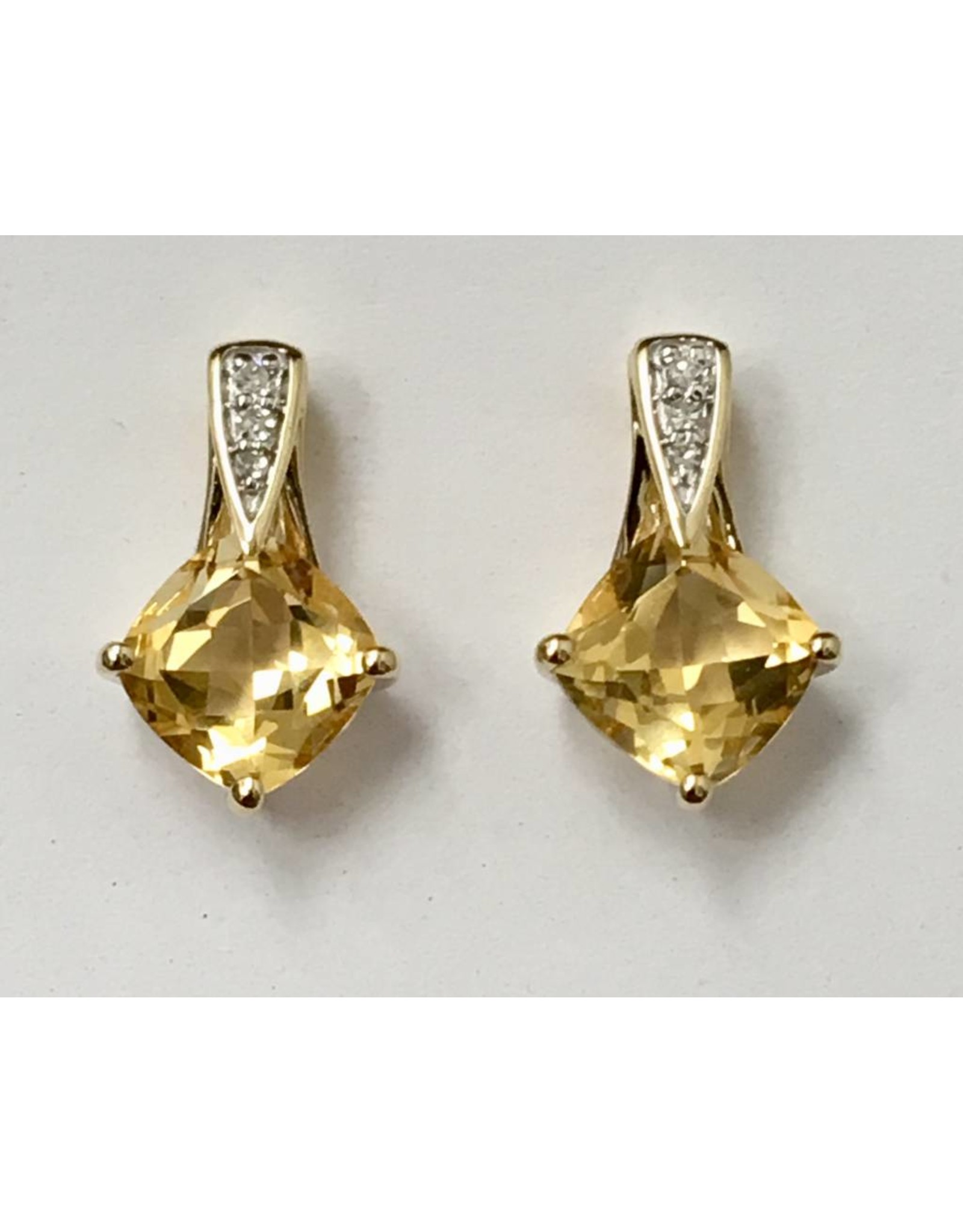 Citrine & Diamond Earrings 10KY