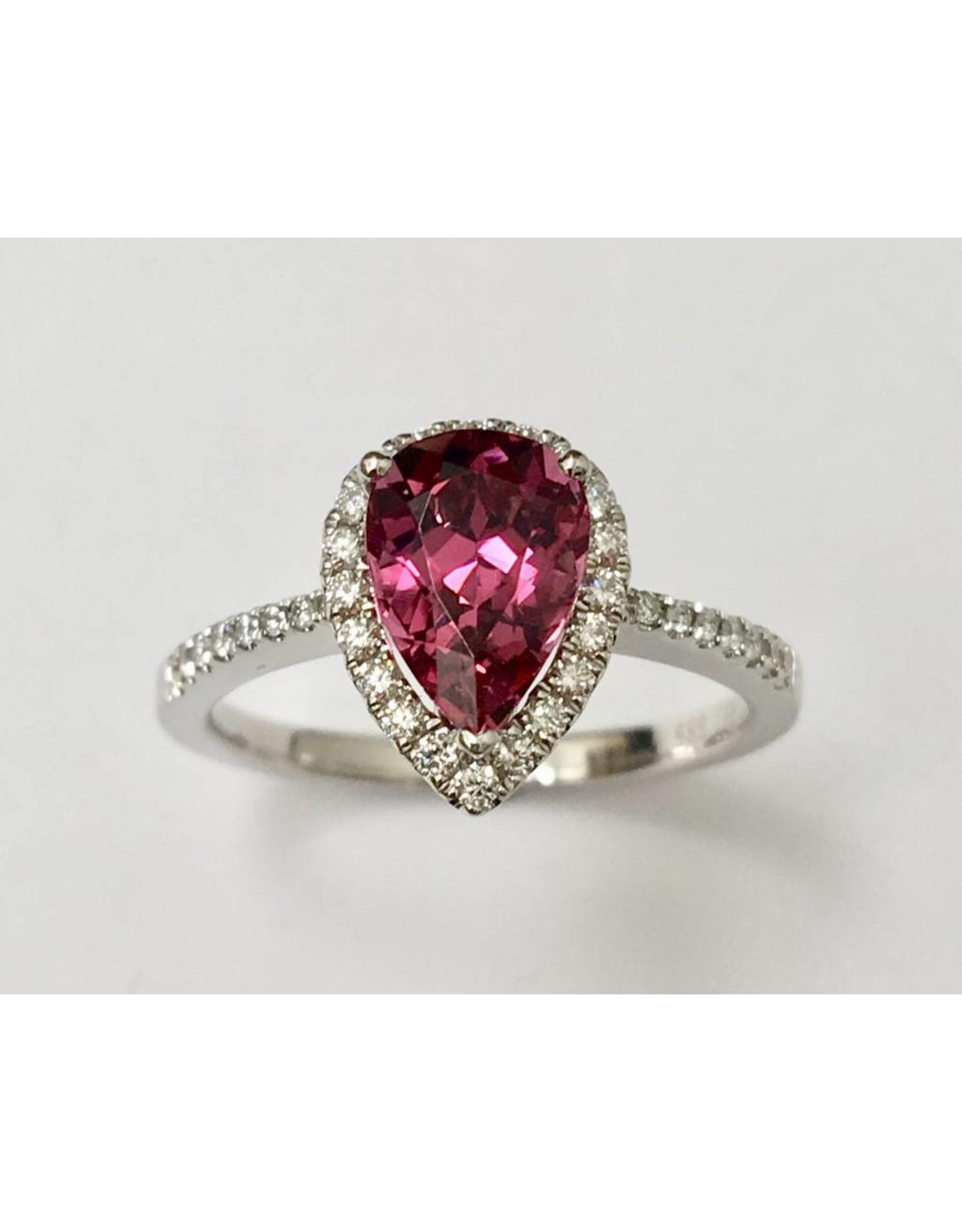Pink Tourmaline & Diamond Ring 14KW