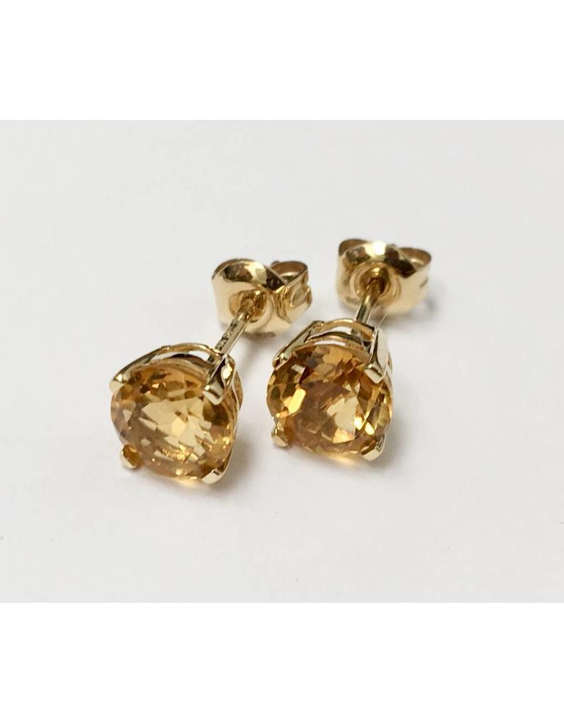 Citrine Stud Earrings 14KY