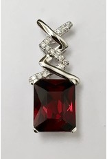 3.89ct Garnet & Diamond Pendant 14KW