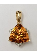 2.18ct Citrine & Diamond Pendant 14KY